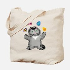 Grey Kitten Juggling Easter Eggs Tote Bag