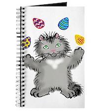 Grey Kitten Juggling Easter Eggs Journal