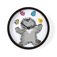 Grey Kitten Juggling Easter Eggs Wall Clock