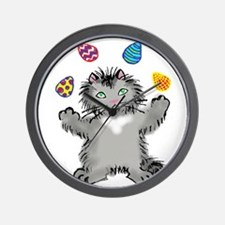 Grey Kitten Juggling Easter Eggs Wall Clock