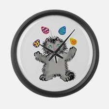 Grey Kitten Juggling Easter Eggs Large Wall Clock
