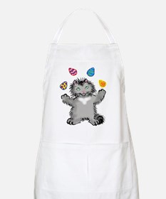 Grey Kitten Juggling Easter Eggs Apron