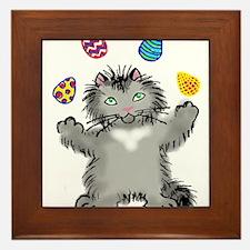 Grey Kitten Juggling Easter Eggs Framed Tile