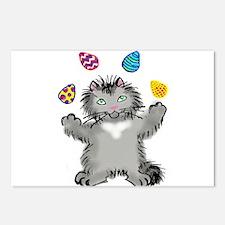 Grey Kitten Juggling East Postcards (Package of 8)