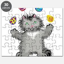Grey Kitten Juggling Easter Eggs Puzzle