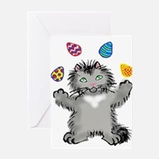 Grey Kitten Juggling Easter Eggs Greeting Cards