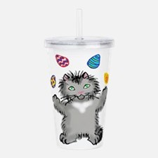 Grey Kitten Juggling E Acrylic Double-wall Tumbler