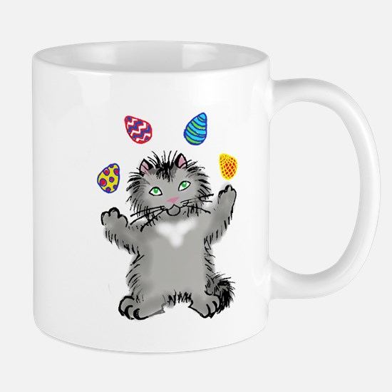 Grey Kitten Juggling Easter Eggs Mugs