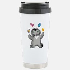 Grey Kitten Juggling Ea Stainless Steel Travel Mug