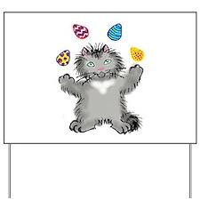 Grey Kitten Juggling Easter Eggs Yard Sign