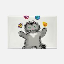 Grey Kitten Juggling Easter Eggs Magnets