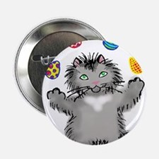 """Grey Kitten Juggling Easte 2.25"""" Button (100 pack)"""