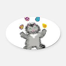 Grey Kitten Juggling Easter Eggs Oval Car Magnet