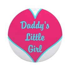 Daddys Little Girl Pink Teal Heart Ornament (Round