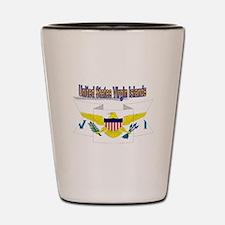 USVI flag ribbon Shot Glass