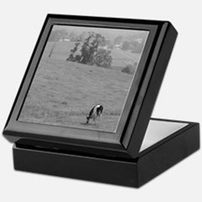 Farm Field in Black & White Keepsake Box