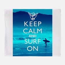 Keep Calm And Surf On Throw Blanket