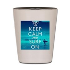 Keep Calm And Surf On Shot Glass