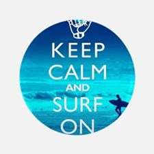 "Keep Calm And Surf On 3.5"" Button"