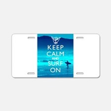 Keep Calm And Surf On Aluminum License Plate