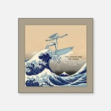 "Learn to Surf Square Sticker 3"" x 3"""
