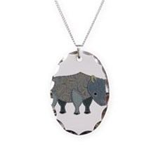 Patchwork Fabric Rhino Necklace Oval Charm