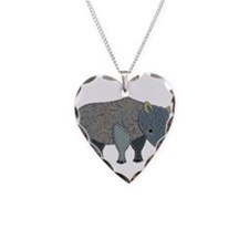 Patchwork Fabric Rhino Necklace Heart Charm