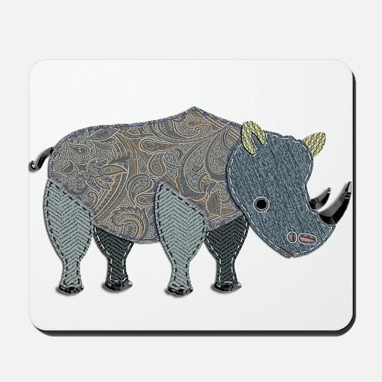 Patchwork Fabric Rhino Mousepad