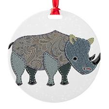Patchwork Fabric Rhino Ornament