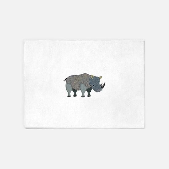 Patchwork Fabric Rhino 5'x7'Area Rug