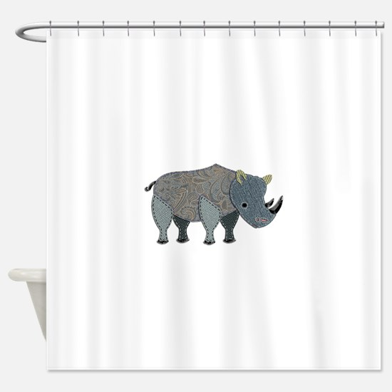 Patchwork Fabric Rhino Shower Curtain