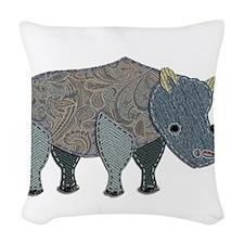 Patchwork Fabric Rhino Woven Throw Pillow