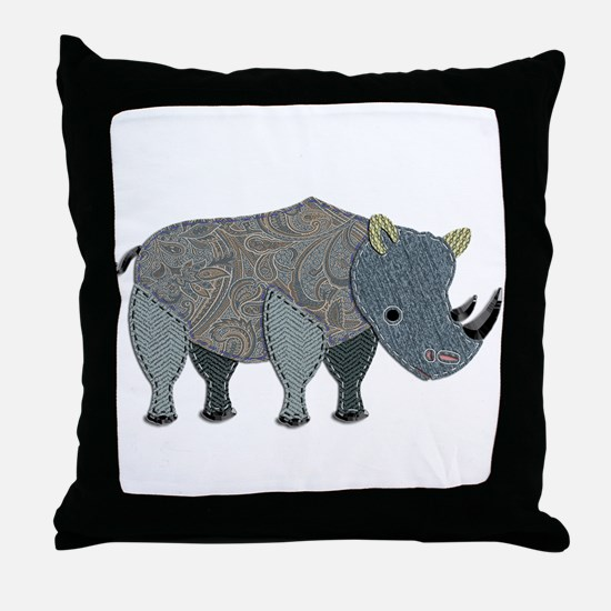Patchwork Fabric Rhino Throw Pillow