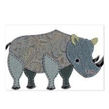 Patchwork Fabric Rhino Postcards (Package of 8)