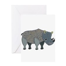 Patchwork Fabric Rhino Greeting Cards