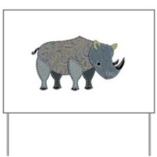 Patchwork Fabric Rhino Yard Sign