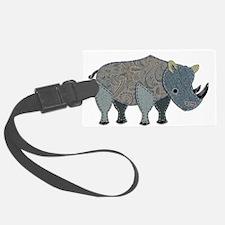 Patchwork Fabric Rhino Luggage Tag