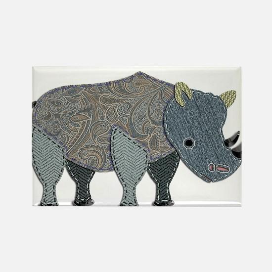 Patchwork Fabric Rhino Magnets