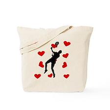 Badminton Hearts Tote Bag