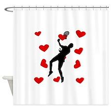 Badminton Hearts Shower Curtain