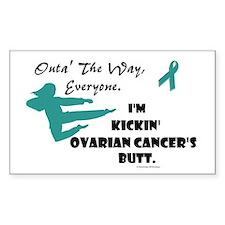 Kickin' Ovarian Cancer's Butt Sticker (Rectangular