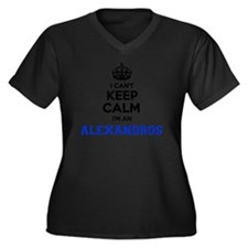 Cute Alexandro Women's Plus Size V-Neck Dark T-Shirt