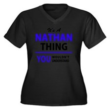 Funny Nathan Women's Plus Size V-Neck Dark T-Shirt