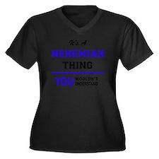 Cute Nehemiah Women's Plus Size V-Neck Dark T-Shirt