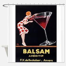 Balsam Aperitif, Wine, Vintage Poster Shower Curta