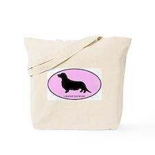 Longhair Dachshund (oval-pink Tote Bag