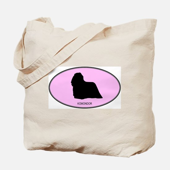 Komondor (oval-pink) Tote Bag