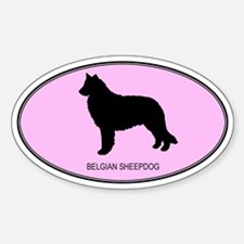 Belgian Sheepdog (oval-pink) Oval Decal