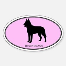 Belgian Malinois (oval-pink) Oval Decal