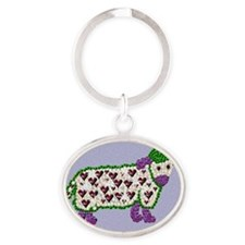 Chinese Year Of the Jewel Art Sheep Oval Keychain